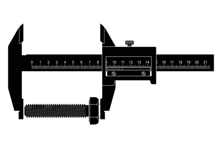 Caliper Black drawing. Vector illustration isolated on white background