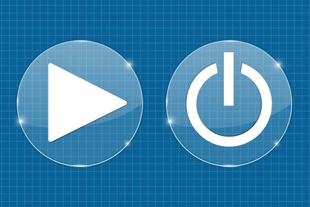 Play and standby transparent shiny buttons. On blueprint illustration Illustration