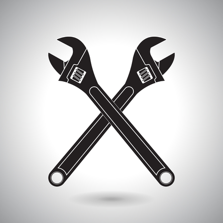 Adjustable wrench. Crossed black icons