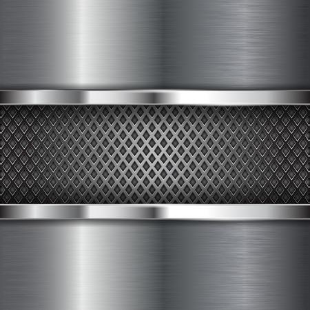 Metal brushed background with perforation. Diamond shape holes. Vector 3d illustration Illustration