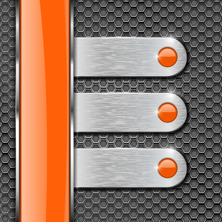 Orange glass stripe and metal plates on perforated background. Menu buttons with orange circles. Vector 3d illustration Illustration