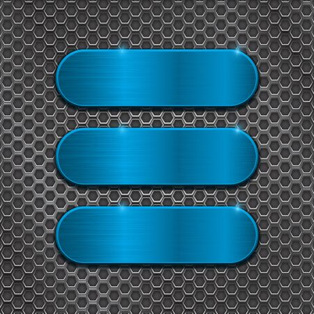 Blue oval plates on metal perforated background Illustration