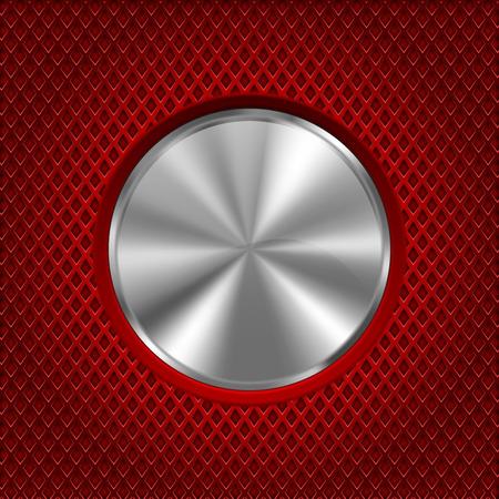 Botón redondo de metal sobre fondo perforado de acero inoxidable rojo. Agujeros en forma de diamante. Vector ilustración 3d