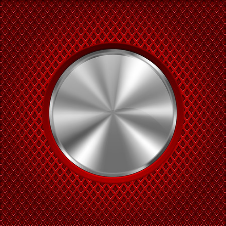 Metal round button on red stainless steel perforated background. Diamond shape holes. Vector 3d illustration Çizim
