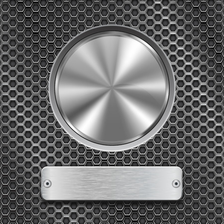 Metal round button with rectangle plate on stainless steel perforated background. Vector 3d illustration