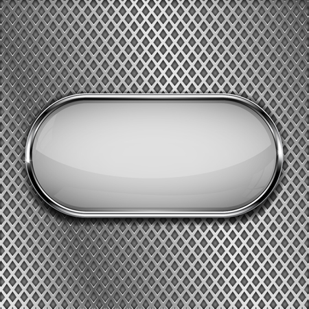 White oval button on metal perforated background