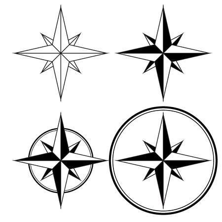 compass rose: Wind rose. Compass navigation sign Illustration