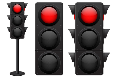 Traffic lights. Red light on