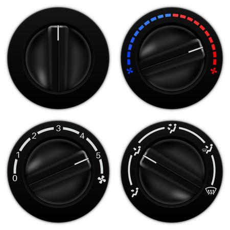 Car air conditioning black round selectors