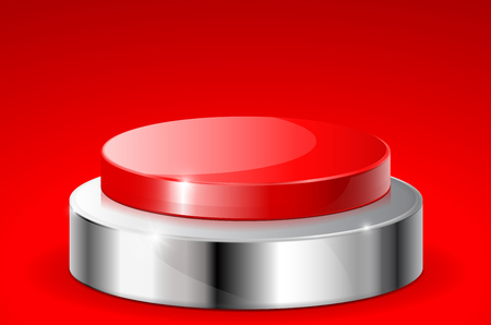 Red push button with metal base. On red background
