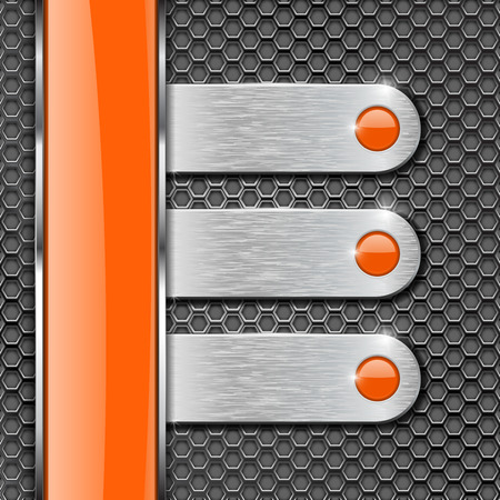 Orange glass stripe and metal plates on perforated background. Menu buttons with orange circles