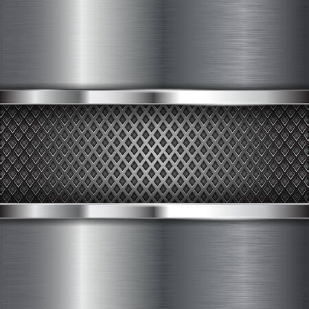 Metal chrome brushed background with perforation. Diamond shape holes Illustration