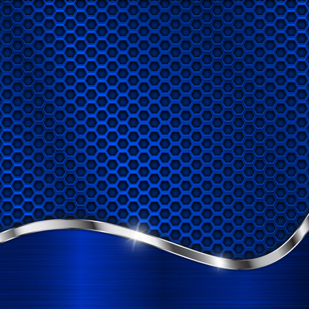 Blue metal background. Perforation and elements. Vector 3d illustration