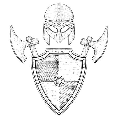 Viking Helmet And Horned Metal Hat On Hand Drawn Sketch Royalty Free ...
