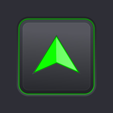 Square UP button with green arrow on black background. Vector 3d illustration Illustration