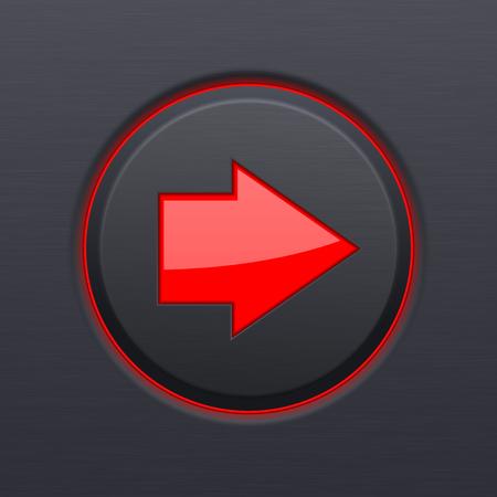 Schwarzes rundes Knopf mit rotem Pfeil . Vektor 3D-Darstellung