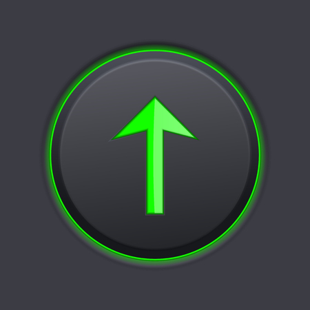 Black UP button with green arrow. Vector 3d illustration
