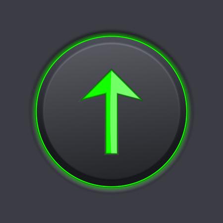 Schwarzes Druckknopf mit grünem Pfeil . 3D-Vektor-Illustration