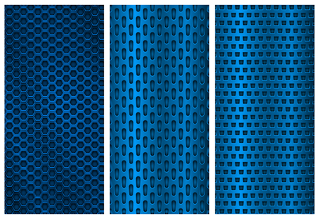 blue metal perforated backgrounds brochure design templates