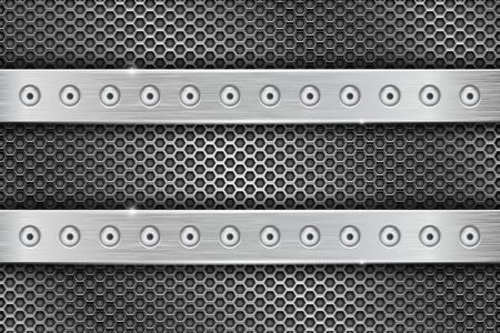Metal perforated background with brushed iron stripes with rivets