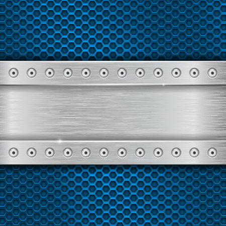 Metal texture with brushed iron plate with rivets and blue perforation
