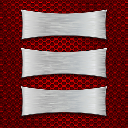 Three asymmetric scratched metal plates on red iron perforated background. Vector 3d illustration Illustration