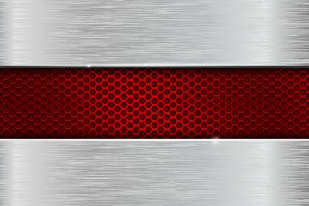 Iron brushed metal background with red perforation. Vector 3d illustration.