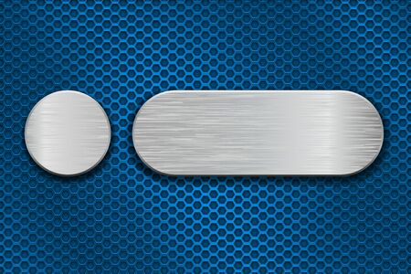 Round and oval metal brushed plates on blue iron perforated background