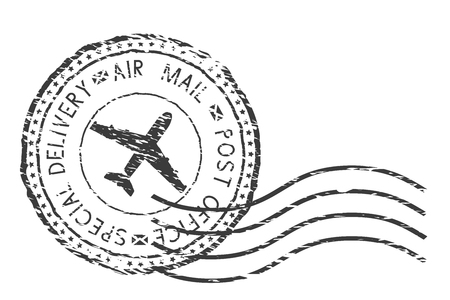 Postdienst, speciale levering luchtpost zwart poststempel met vliegtuigteken. Vector illustratie geïsoleerd op een witte achtergrond