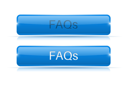 Blue button FAQs. Active and normal. Vector illustration isolated on white background Çizim