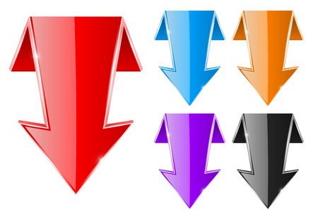 Colored DOWN arrows. Web shiny 3d icons