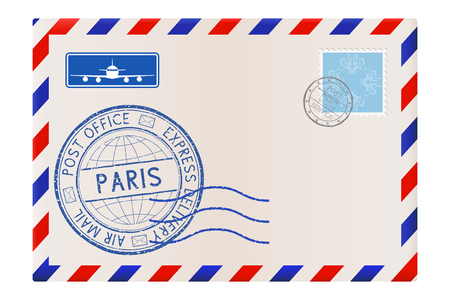 Envelope with Paris postmark. Vector illustration isolated on white background