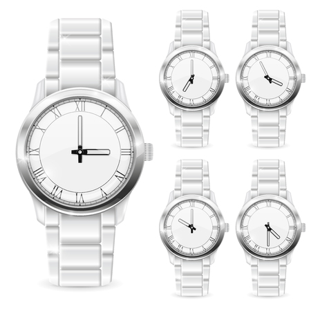 Men wrist watch with metal bracelet. White clockface with roman numerals. Vector 3d illustration isolated on white background