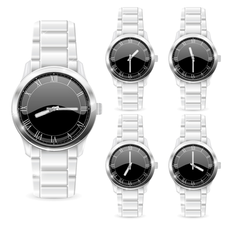 Men wrist watch with metal bracelet. Black clockface with roman numerals. Vector 3d illustration isolated on white background