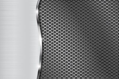 Metal perforated background with wave steel element. Vector 3d illustration Çizim