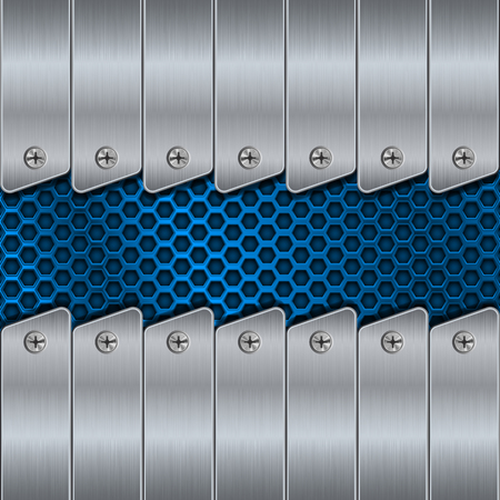 Metal background with rivets and blue perforation. Vector 3d illustration Illustration