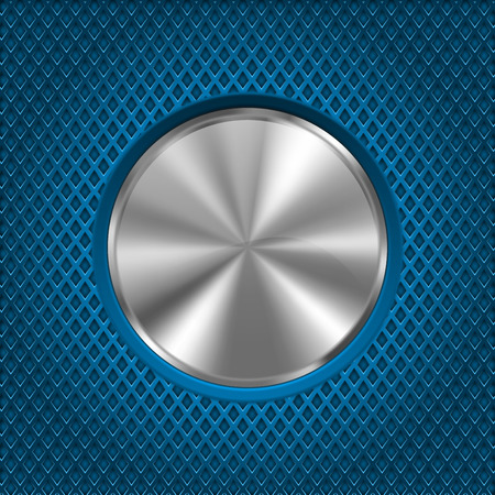 Round metal plate on blue perforated background. Vector 3d illustration
