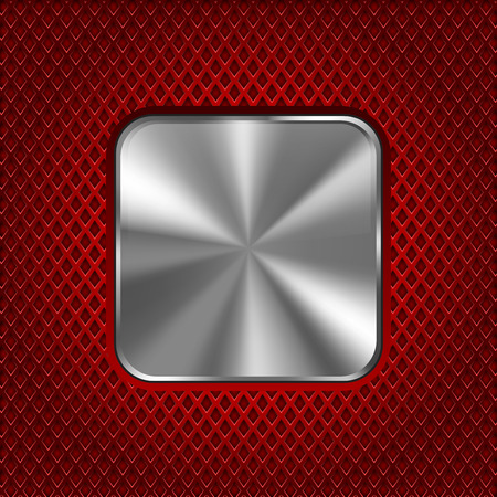 Metal square plate on red perforated background. Vector 3d illustration