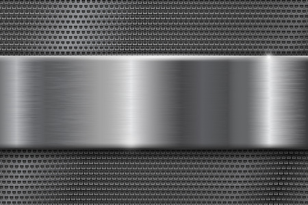 Metal perforated background with brushed plate. Vector 3d illustration Illustration