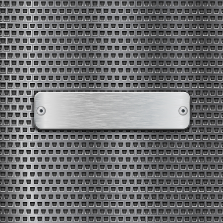 Stainless steel brushed plate on metal perforated background. Vector 3d illustration Illustration