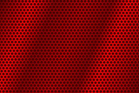 Red metal perforated background. Abstract industrial surface. Vector 3d illustration