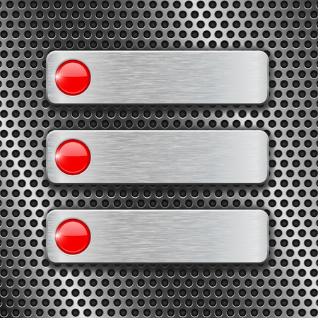 Metal rectangle plates on perforated background. Menu buttons with red circles