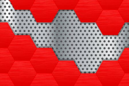 Metal background with red steel hexagons. Vector 3d illustration