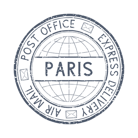 Postal stamp with PARIS, France title. Round gray postmark. Vector illustration isolated on white background 일러스트
