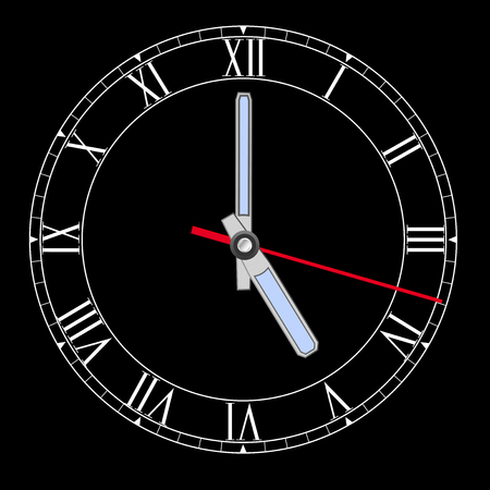 Black clockface with roman numerals. Five o clock. Vector illustration Illustration