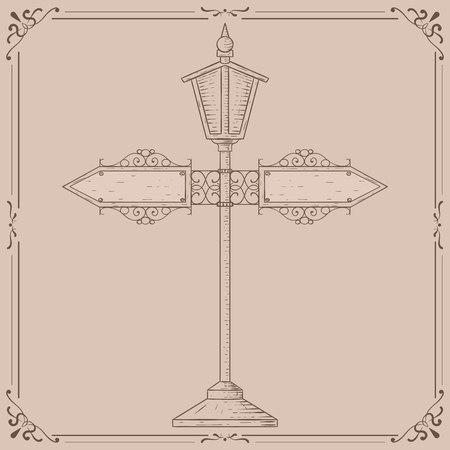 Vintage lamp post. Hand drawn sketch. Vector illustration on beige background 矢量图像