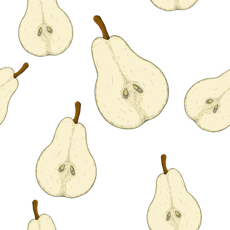 Half of pear. Colored hand drawn sketch as seamless pattern. Vector illustration isolated on white background