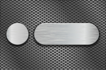 Round and oval metal brushed plates on iron perforated background. Vector 3d illustration