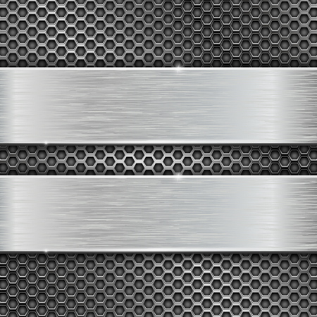 Two long brushed metal stripes on perforated background. Vector 3d illustration