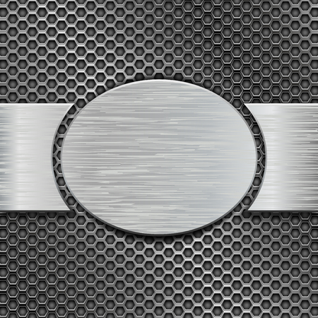 Metal brushed plate with scratched texture on iron perforated background. Vector 3d illustration Illustration